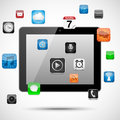Tablet with floating apps vector app icons around it eps file transparency Stock Photography