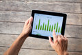 Tablet with green chart Royalty Free Stock Photo