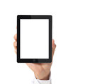 Tablet in hand touch screen and shows Stock Image