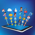Tablet with Internet icons Set Royalty Free Stock Photography