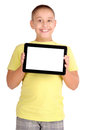 Tablet little boy holding isolated in white Stock Photos