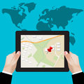 Tablet navigation; gps concept; location on touchscreen tablet; Vector illustration in flat design for web sites, Infographic desi