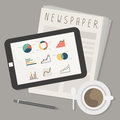 Tablet and newspaper with coffee vector Royalty Free Stock Photos