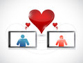 Tablet online dating graphic concept illustration design over white Royalty Free Stock Images