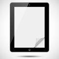 Tablet with paper corner black blank shiny screen and folded isolated on white background file is layered eps file Royalty Free Stock Images