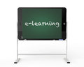Tablet pc as blackboard stand e learning concept on a white background Royalty Free Stock Images