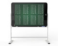 Tablet pc as blackboard stand with multiplication table e learning concept on a white background Royalty Free Stock Image