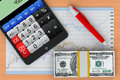 Tablet PC with calculator, money and business chart Royalty Free Stock Photography