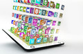 Tablet pc with cloud of application icons pad lots apps flying around Royalty Free Stock Images