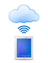 Tablet PC and Cloud computing Stock Photo