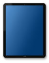 Tablet pc computer with blank blue screen on white background with shadow Royalty Free Stock Image