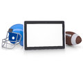 Tablet pc football helmet and ball render on a white background Royalty Free Stock Photography