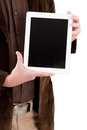 Tablet pc in hands of businessman Royalty Free Stock Image