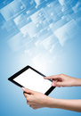 Tablet pc with icons background Stock Images