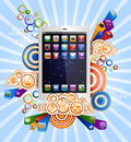 Tablet pc with icons on funky background Stock Image