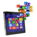 Tablet pc media concept d render of isolated Stock Photography