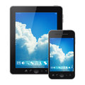 Tablet pc and mobile phone Stock Images