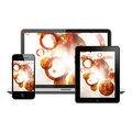 Tablet pc notebook and mobile phone with abstract illustration on a screen over isolated white background Royalty Free Stock Images