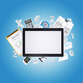 Tablet pc and office items the concept of digital Stock Photography