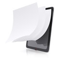 Tablet pc and paper pages Stock Image