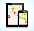 Tablet pc and phone with navigation map Royalty Free Stock Images