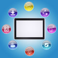Tablet pc and program icons the concept of computer software Royalty Free Stock Images
