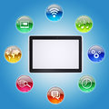 Tablet pc and program icons the concept of computer software Royalty Free Stock Photos