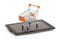 Tablet pc shopping from on the cart clipping pack Royalty Free Stock Image