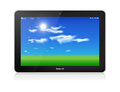 Tablet pc vector horizontal blue sky background black glossy computer in orientation of display on white green grass and with Stock Image