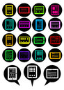 Tablet PC vector icons / speech bubbles Stock Image