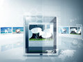 Tablet pc with video player app business technology and concept illustration of Royalty Free Stock Photo
