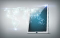 Tablet pc with world map Royalty Free Stock Image