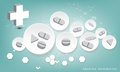 Tablet and pill on 3D circle background.vector illustration.