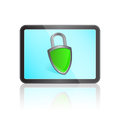 Tablet with Protection Shield Sign Royalty Free Stock Photo