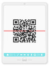 Tablet with QR bar code Royalty Free Stock Image
