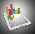 Tablet showing a spreadsheet with  charts Royalty Free Stock Image