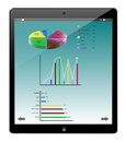 Tablet similar ipad and pie graph business screen Stock Image
