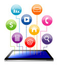Tablet with social media application icon Royalty Free Stock Photos
