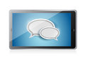 Tablet with speech bubbles illustration design over white Royalty Free Stock Photos
