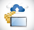 Tablet uploading info to cloud cloud computing concept illustration design Royalty Free Stock Image