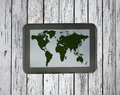 stock image of  Tablet with world map