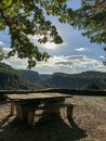 Tabletop scenic overlook at Letchworth State Park Royalty Free Stock Photo