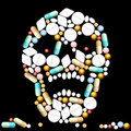 Tablets skull pills and capsules that shape a creepy Royalty Free Stock Photo