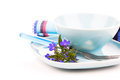 Tableware with blue lobelia flowers and cutlery Royalty Free Stock Photo