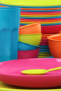 Tableware color plastic Royalty Free Stock Images