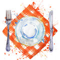 Tableware, cutlery, plates for food, fork, table knife and a cloth napkin. watercolor background illustration
