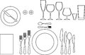 Tableware outline silhouette of etiquette proper table setting Royalty Free Stock Photography