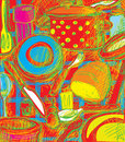 Tableware ultra colors Royalty Free Stock Image