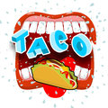 Taco acute Mexican food. Open your mouth and protruding tongue. Royalty Free Stock Photo