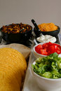 Taco fixings buffet vertical Royalty Free Stock Photography